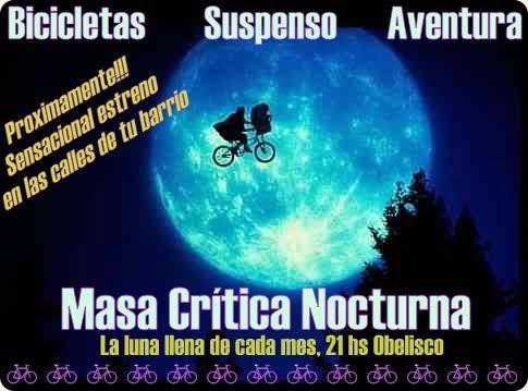 Sábado: Masa Crítica noturna com lua cheia